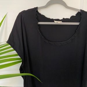 NWOT ModCloth Ruffle Neck Black Top